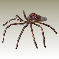 Hand-Made Bronze and Brown Beaded Spider Pin
