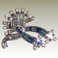 Vintage Mazer Silver Plated Cast Rhinestone Pin Brooch