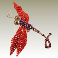 Red/Purple Beaded Dragonfly Pin