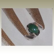 Jade Green Aventurine Cabochon Sterling Ring size 5.5