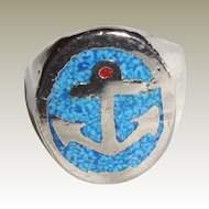 Vintage Silver Plated Anchor Ring with Turquoise Mosaic – Man's Ring - 10.5