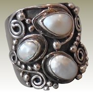 Ring Vintage Sterling Silver Wide Three Pearl  size 6.75