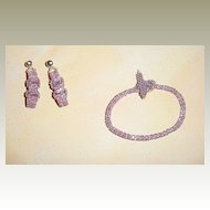 Mauve and Silver Seed Bead Bracelet and Earrings – XL Size!