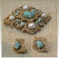 Sarah Coventry Faux Pearl and Faux Turquoise Demi Parure (set)