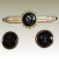 Louis Stern Intaglio Bar Pin Brooch and Pierced Earrings