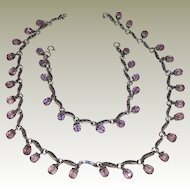 Sterling Silver Marcasite & Amethyst Crystal Necklace and Bracelet