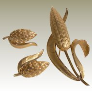 Crown Trifari Wheat Set ~ Pin & Earrings ~ Gold Plated