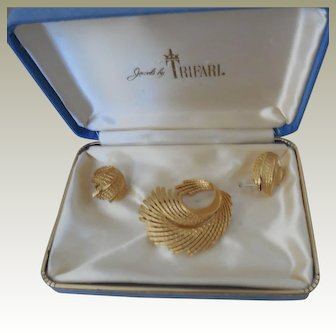 Trifari Gold Plated Pin and Clip Earrings in Original Gift Box