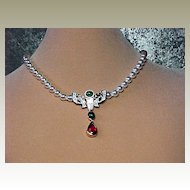 Swarovski Faux Pearl/Faux Ruby/Faux Emerald Necklace - Elegant!