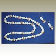White Aurora Beads with White Wedding Cake Beads - Necklace and Earrings