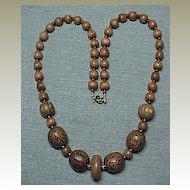 Medium Brown Wooden Bead Necklace