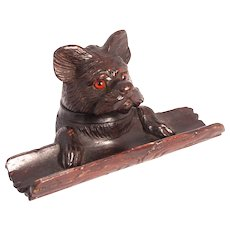 1890 Black Forest Hand Carved Lime Wood Dog Inkwell and Pen Rest