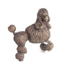 Cast Bronze Poodle Dog Figure Signed by Artist Miniature S817