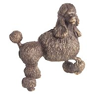 Cast Bronze Poodle Dog Figure Signed by Artist Miniature S817