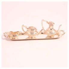 Vintage 4 Piece Dolls Miniature Tea and Coffee Set Sterling Silver S817