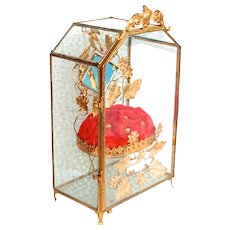 1860 Napoleon III Palais Royal Globe De Mariee Antique French Glass 8 Sided Box with Jewellery Display Stand S817
