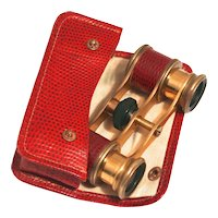 Vintage Art Deco Red Snake Skin Opera Glasses with Matching Purse S817