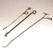 3 Antique Pocket Watch Chains and Fobs Silver and Cut Steel S817