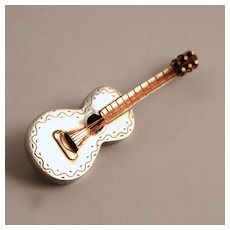 Vintage Guitar Brooch Jewellery  Silver by Hubert Harmon 1941 Mexico 925 Sterling S817