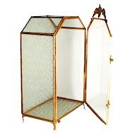 A Napoleon III 1850 Glass Display Cabinet Ormolu Decorations Double Clasp S817