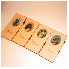 1935 Complete Bridge Set Marker Books and Pencils with Dog Pictures by Pontoprint Britain