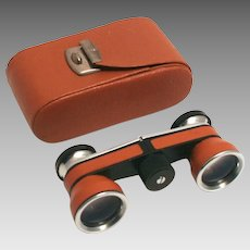 Art Deco 1920s German Chrome and Leather Opera Glasses with Case S817
