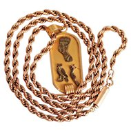 Vintage 9 Karat Rose  Gold Double Twist Chain and Egyptian Gold Pendant 16 Inches S817