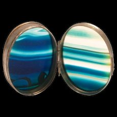 1880 Victorian Scottish Blue Agate Pill or Snuff Box Size 2 inches by 1 1/2 S817
