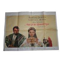 Anne of the Thousand Days Film Quad Poster Richard Burton Geneva Bujold