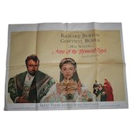 Anne of the Thousand Days Film Quad Poster Richard Burton Geneva Bujold