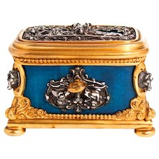 Tahan of Paris Antique French Jewellery Box Bleu de France Guilloche Figural Horses Dogs and Foxes Harvest Scene