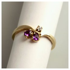 Vintage Amethyst and Diamond 8 Karat 333 Gold Ring