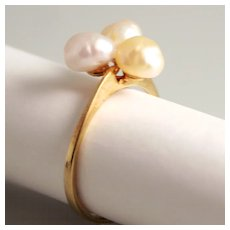 Vintage Natural Fresh Water Pearl Cluster Ring 8 Karat 333 Gold