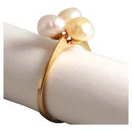 Vintage Natural Fresh Water Pearl Cluster Ring 8 Karat 333 Gold