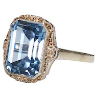 Vintage Ladies  Dress Ring Sterling Silver Aquamarine Synthetic Stone