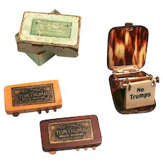 Antique Whist Card Game Markers a Pair of Tom Thumb Markers and a Flip Over Trumps Case