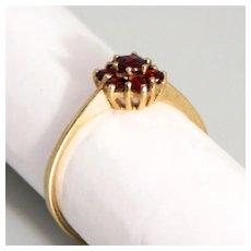 Vintage Gold 8K 7 Stone Garnet Cluster Ring