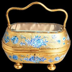 Antique 1870 Napoleon III Period French Jewellery Box Gold Gilt and Hand Painted Enamel Bevelled Glass Top Silk Lined Interior