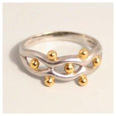 Vintage Platinum 900 and 18 Karat Gold Ring