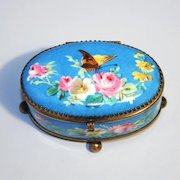 Antique 1870 Sevres Style Paris Porcelain Box Floral and Butterfly Decorations.