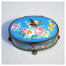 Antique 1870 Sevres Style Paris Porcelain Box Floral and Butterfly Decorations.