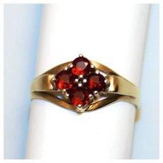 1920 Vintage 8 Karat Gold Garnet Cluster Ring