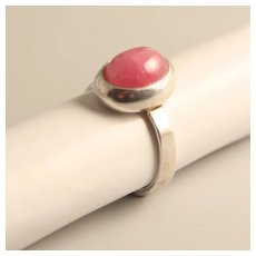 Vintage Silver 800 Adjustable Ring  Rhodochrosite Semi Precious Stone