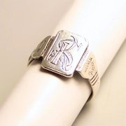 1942 Vintage Hand Crafted Signet Ring Initials KS or SK
