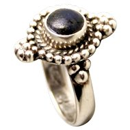 Antique 1910 Jupiter Sterling Silver Harmony Ring with Lapis Lazuli Stone