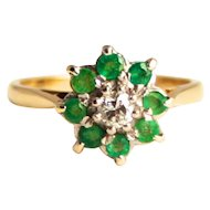 Emeralds and Diamond Cluster Ring 18 Karat Gold Octagram 8 Point Star Design