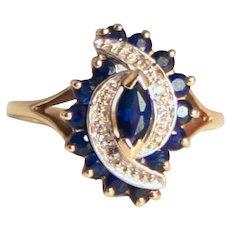 Vintage 1991 9 Karat Sapphire & Diamond Swirl Ring