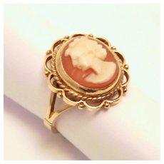 1905 Edwardian 9 Karat Gold Shell Cameo Ring