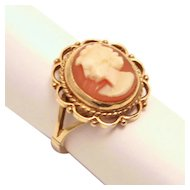 1905 Edwardian 9 Karat Gold Shell Cameo Ring