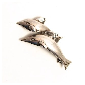 Vintage Sterling Silver Dolphins Brooch
